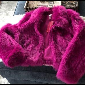 Xhilaration Girls Fuschia Faux-Fur Jacket -L 10/12